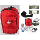 VAS TACTICAL TRAUMA FIRST AID KIT #2 PLUS - ISRAELI BANDAGE & UNIVERSAL (SAM TYPE) SPLINT RED MOLLE BAG