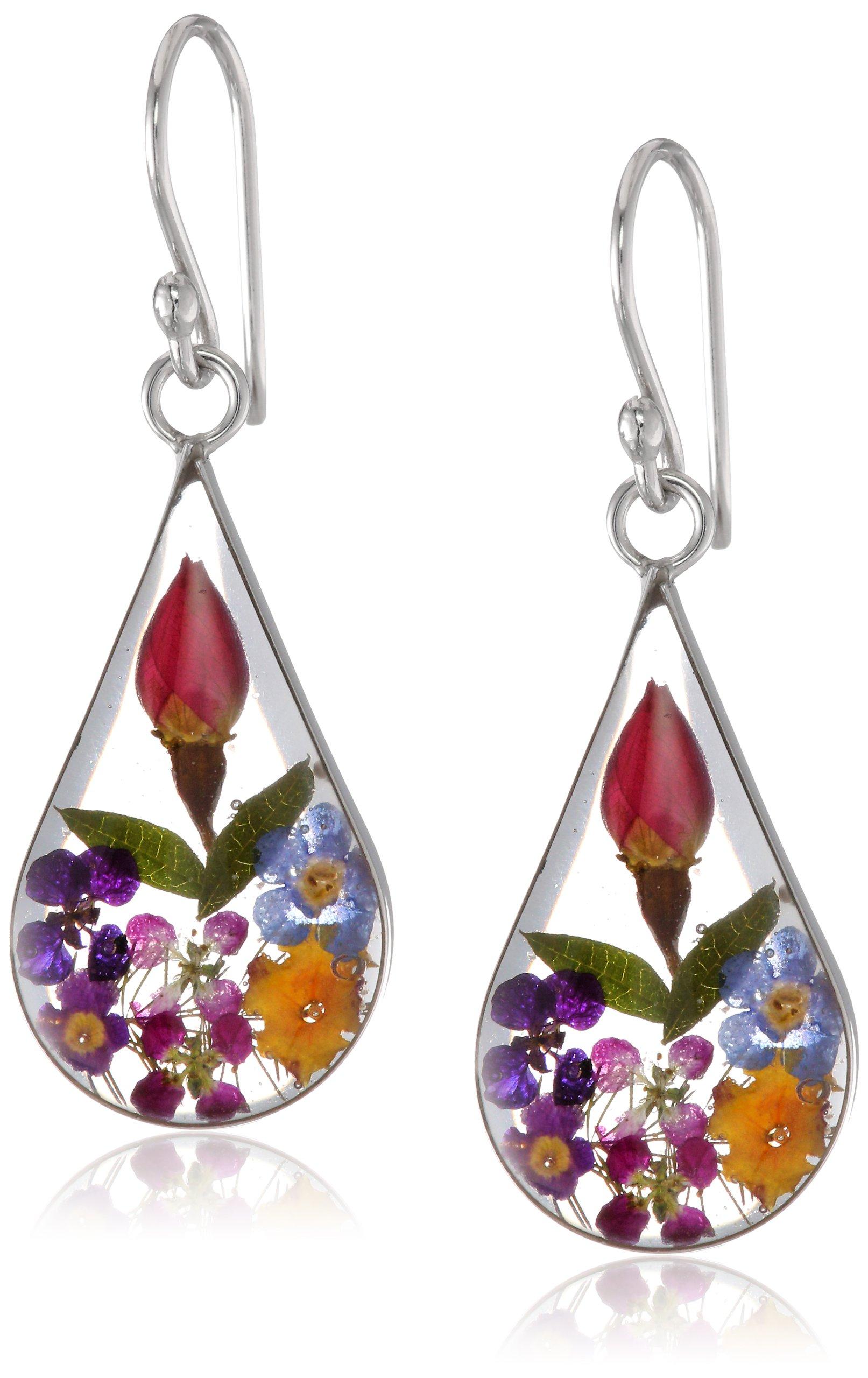 Pressed Flower Teardrop Earrings image