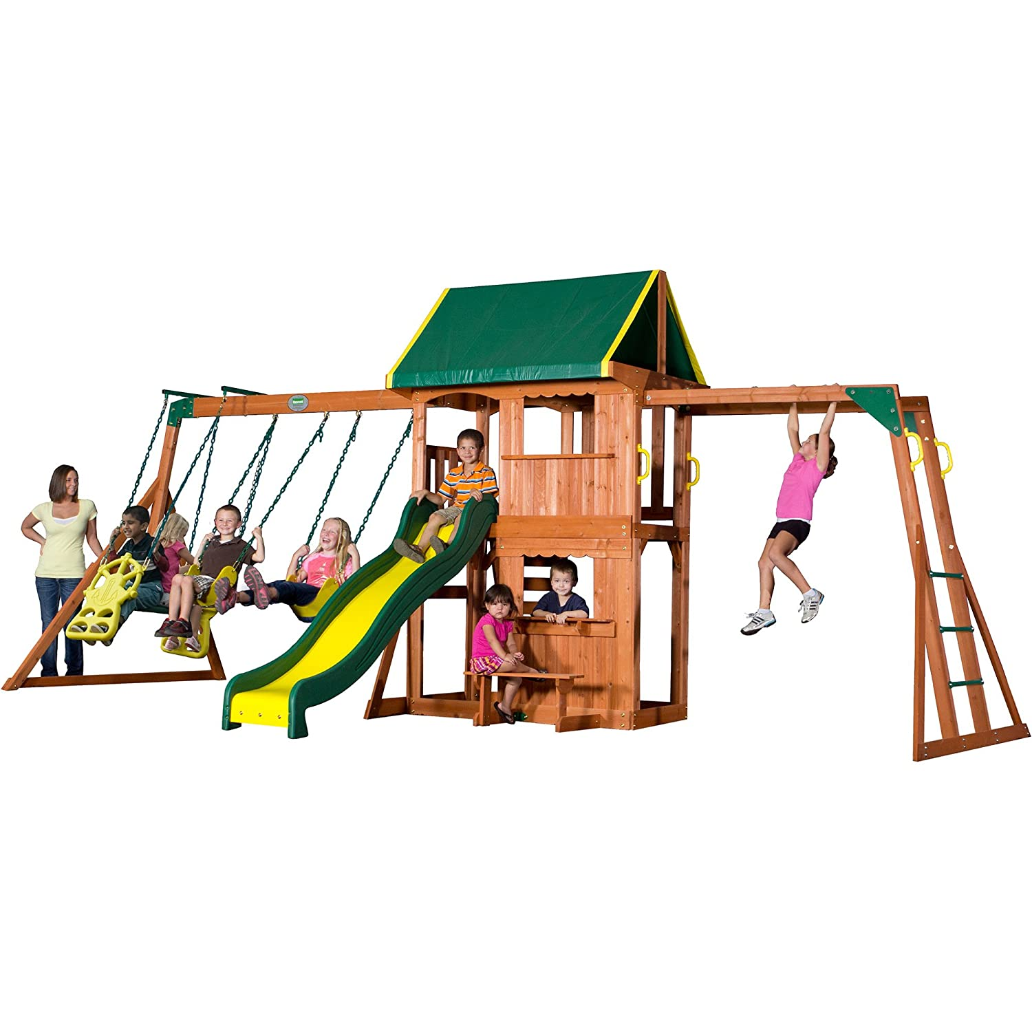 Outside Play Ground Toys : Outdoor cedar wooden swing set kids play center slide
