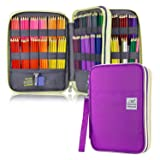 YOUSHARES 192 Slots Colored Pencil Case, Large Capacity Pencil Holder Pen Organizer Bag with Zipper for Prismacolor Watercolor Coloring Pencils, Gel Pens & Markers for Student & Artist (Purple) (Color: Purple)