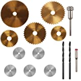 PROMMON 5Pcs Ti-coated Saw Blades Rotary Tool & 5Pcs Stainless Steel Wood Cutting Wheel Saw Blade Discs & 2Pcs 3mm Twist Drill Bit For Prommon Dremel Rotary Tools Pack Of 12Pcs (Color: 12Pcs Saw Blade)