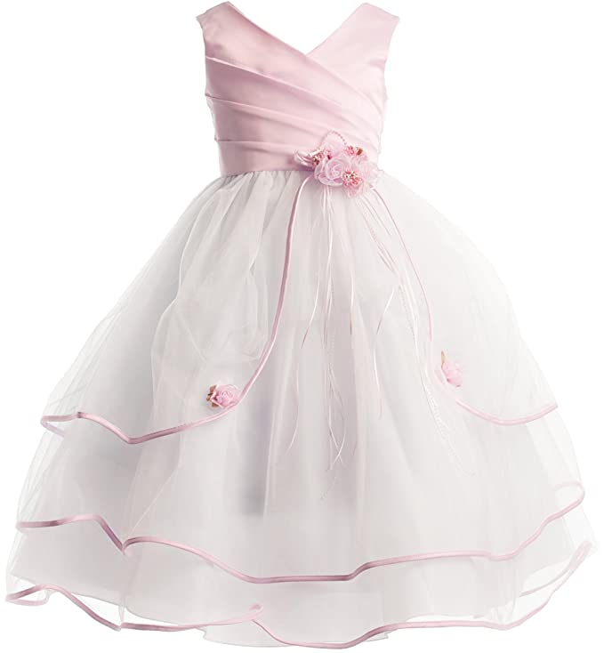Joy Kids 6 Colors 3-Tiered Organza Satin Pageant Holiday Flower Girl Party Dress