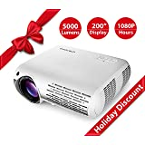 Crenova XPE660 Upgraded Home Entertainment Video Projector - Full 1080P HD Supported - 5,000 Lumens Create Vivid Brightness - 1280X800 Native Resolution Gives Big-Screen Images with Unmatched Clarity (Color: White)