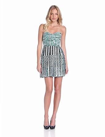 Parker Women's Ariel Strapless Mixed Print Dress, Plaid Tye, X-Small