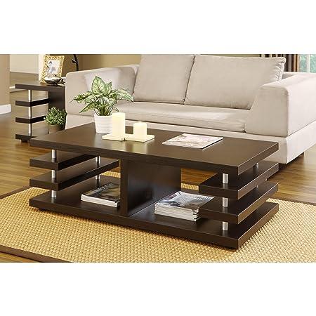 Metro Shop Furniture of America Architectural Inspired Dark Espresso Coffee Table--