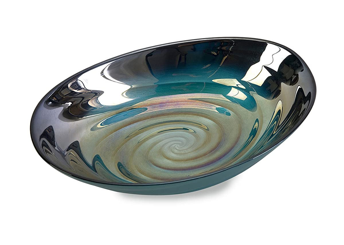 IMAX 83101 Moody Swirl Glass Bowl with Glossy Finish in Ocean Colors