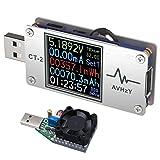 AVHzY USB Power Meter Tester Digital Multimeter USB Load Current Tester Voltage Detector DC 26.0000V 6.0000A Test Speed of Charger Cables PD 2.0/3.0 QC 2.0/3.0/4.0 or pps Trigge (CT2+Load)