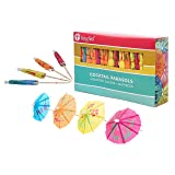 KingSeal 4 Inch Umbrella Parasol Cocktail Picks, Cupcake Toppers - 10 packs of 144 each (1,440 total), Assorted Colors and Designs