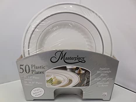Masterpiece Premium Quality Heavyweight Plastic Plates: 25 Dinner Plates and 25