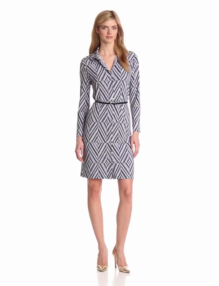 Anne Klein Womens Diamond Print Belted Dress, New Marine Multi, Medium