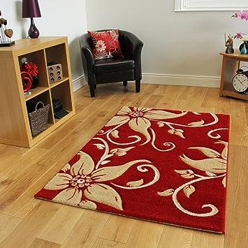 3 tapis moderne rouge et et beige avec motif fleurs fleurs 4 taill - Tapis beige et rouge ...