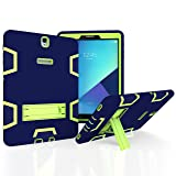 Samsung Galaxy Tab A 10.1 with S pen Case, Beimu 3in1 Combo Hybrid Heavy Armor Full-body Holster Rugged Defender Protective Kickstand Case for Samsung Tab A 10.1 with S Pen SM-P580/P585 (Navy+green) (Color: Navy+green)