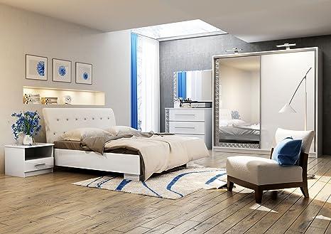 Kommode PRADA Möbel Schlafzimmer modernes Design Weiß (Korpus: weiß / Front: weiß)