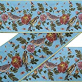 IBA Indianbeautifulart Blue Bird & Dahlia Floral Printed Ribbon Trim 9 Yard Velvet Fabric Laces for Crafts Sewing Accessories 3 Inches (Color: Light Blue, Tamaño: 3 Inches)