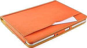 JAMMYLIZARD | Funda De Piel Para Samsung Galaxy NOTE 10.1 (2012) Tipo Libro Con Soporte, NARANJA / CANELA  Electrónica más noticias y comentarios