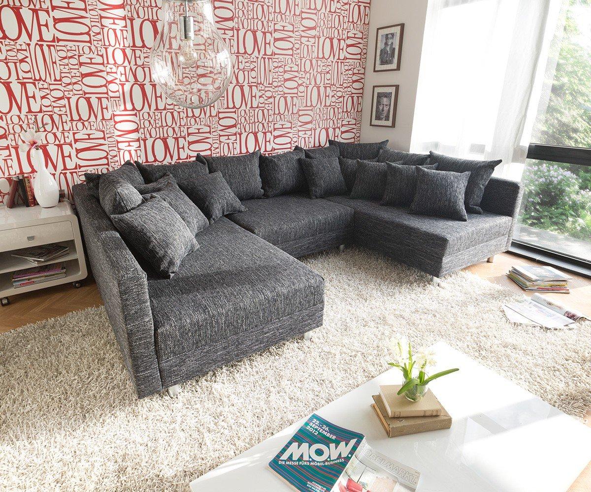 Couch Clovis XXL Schwarz 300×185 mit Hocker und Kissen Wohnlandschaft kaufen