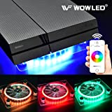 WOWLED Bluetooth Wireless Control PC Case Cooling Fan USB RGB LED Laptop Notebook Computer Cooler LED Fan Stand for PS4 Sony Playstation 4 Gaming Game XBOX One Cool Lighting Fan Thermal Fan Pad Fan (Color: Bluetooth RGB Case Fan)