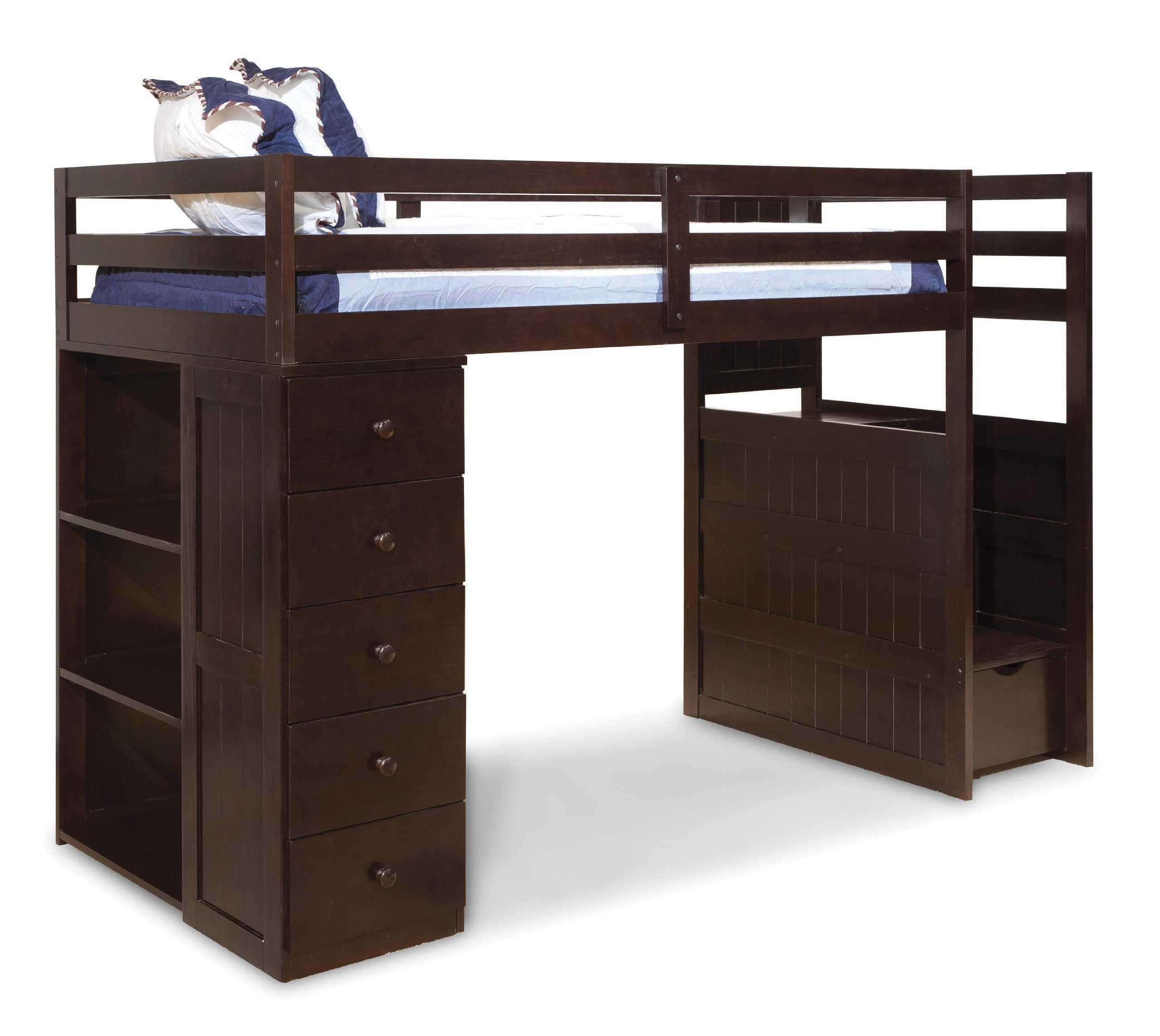 Canwood Mountaineer Loft Bed With Storage Tower And Built In Stairs Drawers,  Twin, Espresso