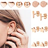 LOLIAS 6 Pairs Stainless Steel Stud Earrings Set for Women Girls Bar Heart Ball Star Triangle Ear Piercing,Rose Gold (Color: C:rose gold 6 pairs)