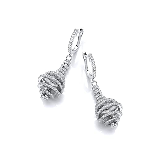 Micro Pave Circles Layered Into a Pear Shape cubic zirconia cz Earrings
