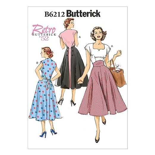 1950s Sewing Patterns- Dresses, Skirts, Tops, Pants 1952 Misses Dress E5 (14-16-18-20-22) $12.48 AT vintagedancer.com