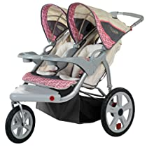 InStep Grand Safari Tan/Pink Swivel Wheel Double Jogger