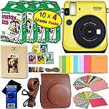 Fujifilm instax Mini 70 Instant Film Camera (Canary Yellow) + Fujifilm instax Mini Instant Film (40 Sheets) + Custom Case + Assorted Frames + Photo Album + 60 Colorful Sticker Frames + HeroFiber (Color: yellow)