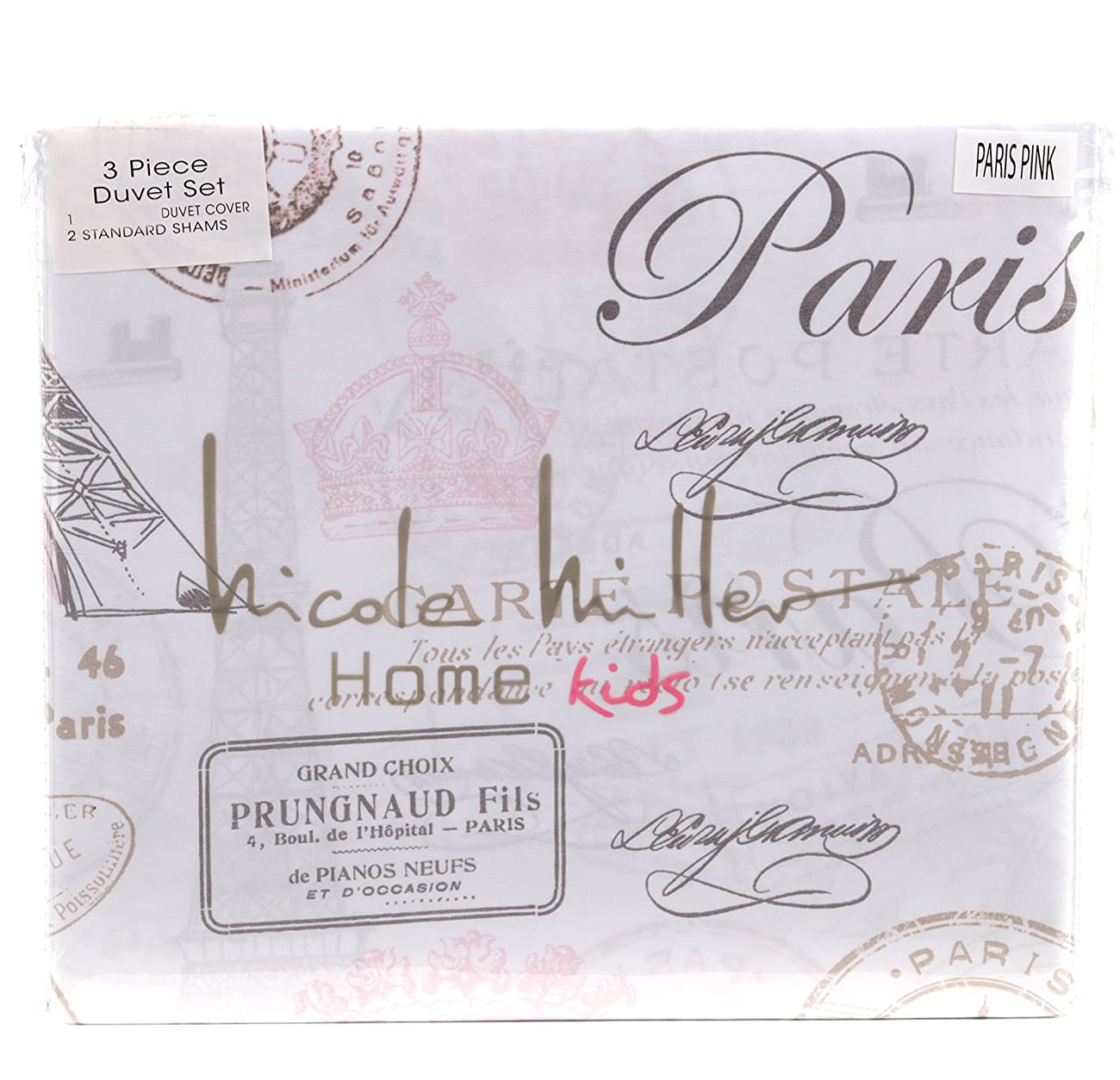 Paris French Vintage Duvet Quilt Cover by Designer Nicole Miller, Bedding Set Grey Tan Dusty Rose Pink Eiffel Script Parisian Theme on White (Queen) 1