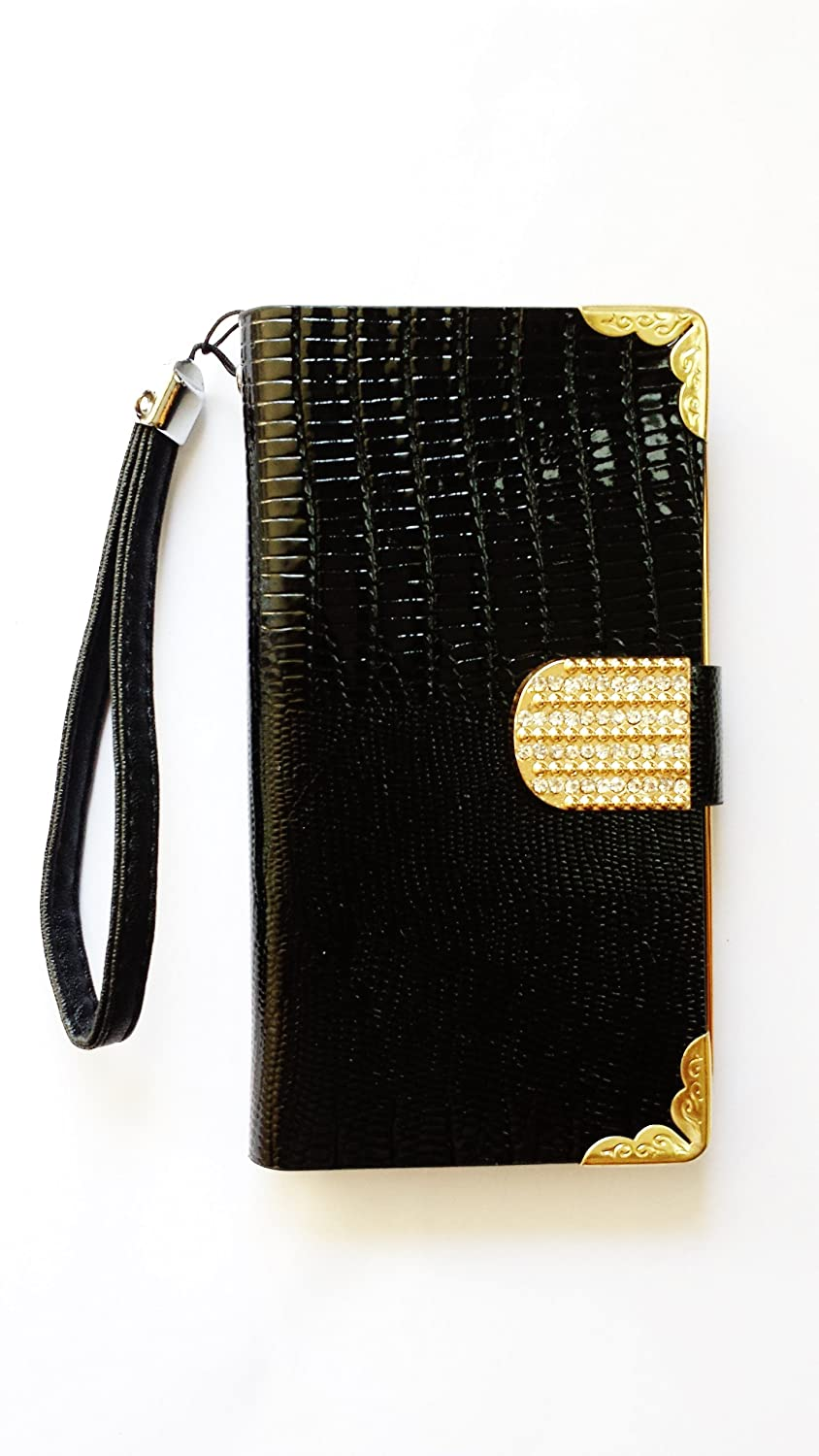 Galaxy S5 Case- Premium PU Leather Wallet Case Cover with Rhinestone