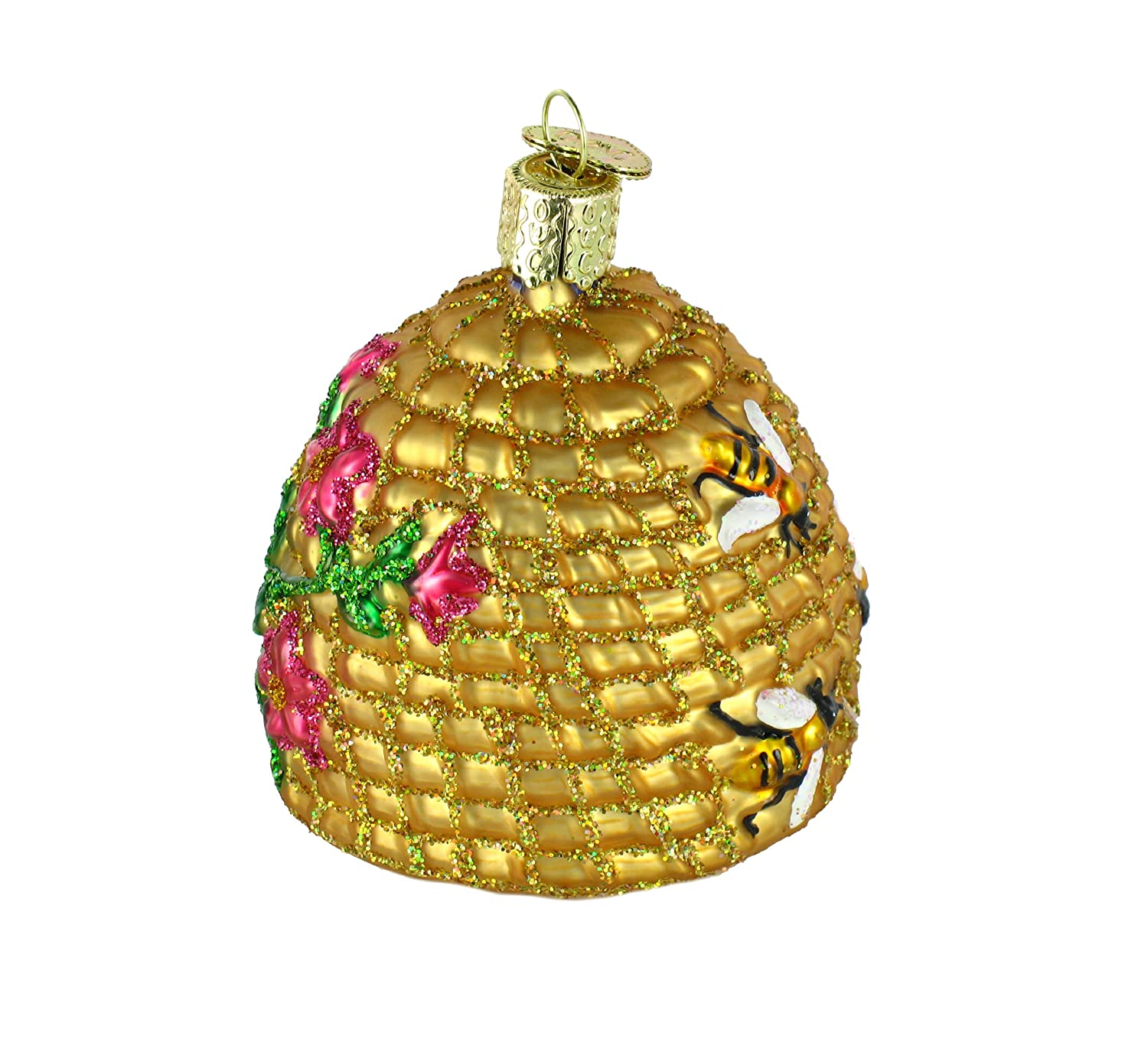 Bee Skep Blown Glass Christmas Ornament