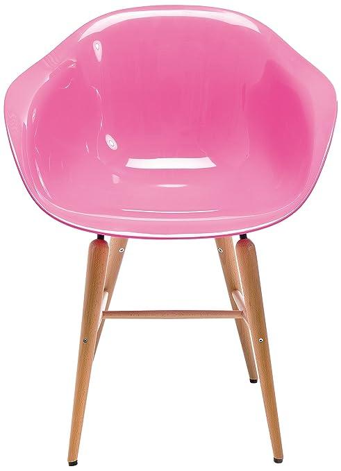 Kare Forum - Sedia in plastica con gambe in legno, colore: rosa