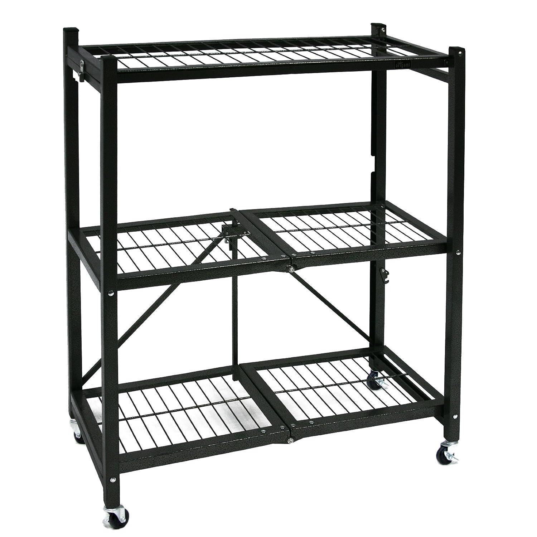 Storage Rack Folding Shelves W Wheels Heavy Duty Shelf
