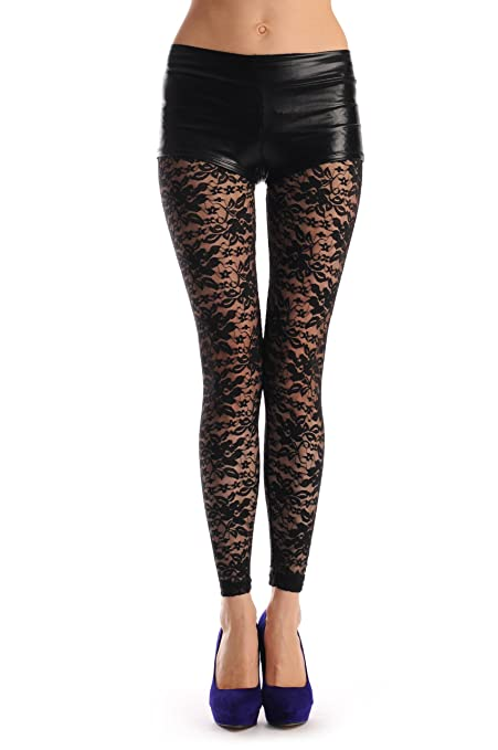 Black Flowers Lace - Black Lace Designer Opaque Leggings