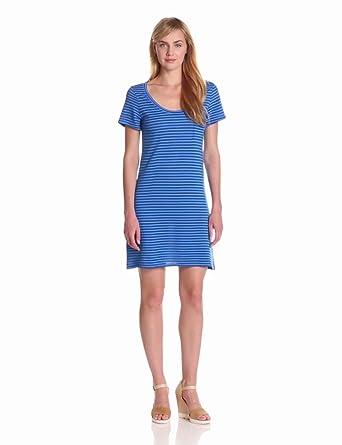 Bobi Women's Tonal Stripe T-Shirt Dress, Tropez, Small