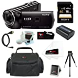 Sony HDR-PJ230/B 8GB Full HD Camcorder with Projector Bundle with Sony 16GB Memory Card + Carrying Case + Replacement Battery NP-FV50 + Accessory Kit