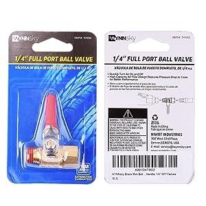 WYNNsky 1/4 Heavy Duty Brass Ball Valve Shut Off Switch, 1/4 Inch Male And Female NPT Thread Pipe Fitting