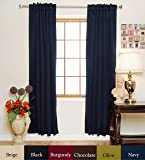 Navy Rod Pocket Energy Saving Thermal Insulated Blackout Curtain 96 Inch Length Pair