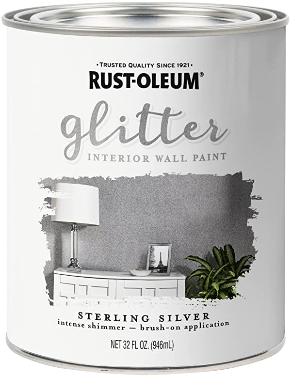 Rust-Oleum 323858 Glitter Interior Wall Paint, Quart, Sterling Silver (Color: Sterling Silver, Tamaño: quart)