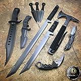 10 Pieces Black Tactical Knife Set Includes Axe, Karambit, Huntsmen Bowie, Pocket Knife, 3 Piece Knife Set, Twin Ninja Swords, Hunter Bowie (Color: Black)