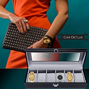 Watch Box Organizer Pillow Case - 6Slot Luxury Premium Display Cases With Framed Glass Lid Elegant Contrast Stitching Sturdy and Secure Lock for Men and Women Watch and Jewelry Large Holder Boxes