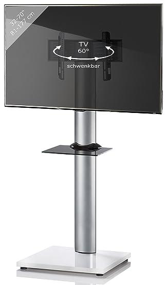 VCM Onu, per supporto TV, colore: bianco vernice, con ripiani in vetro nero con ruolo, in alluminio, colore: argento