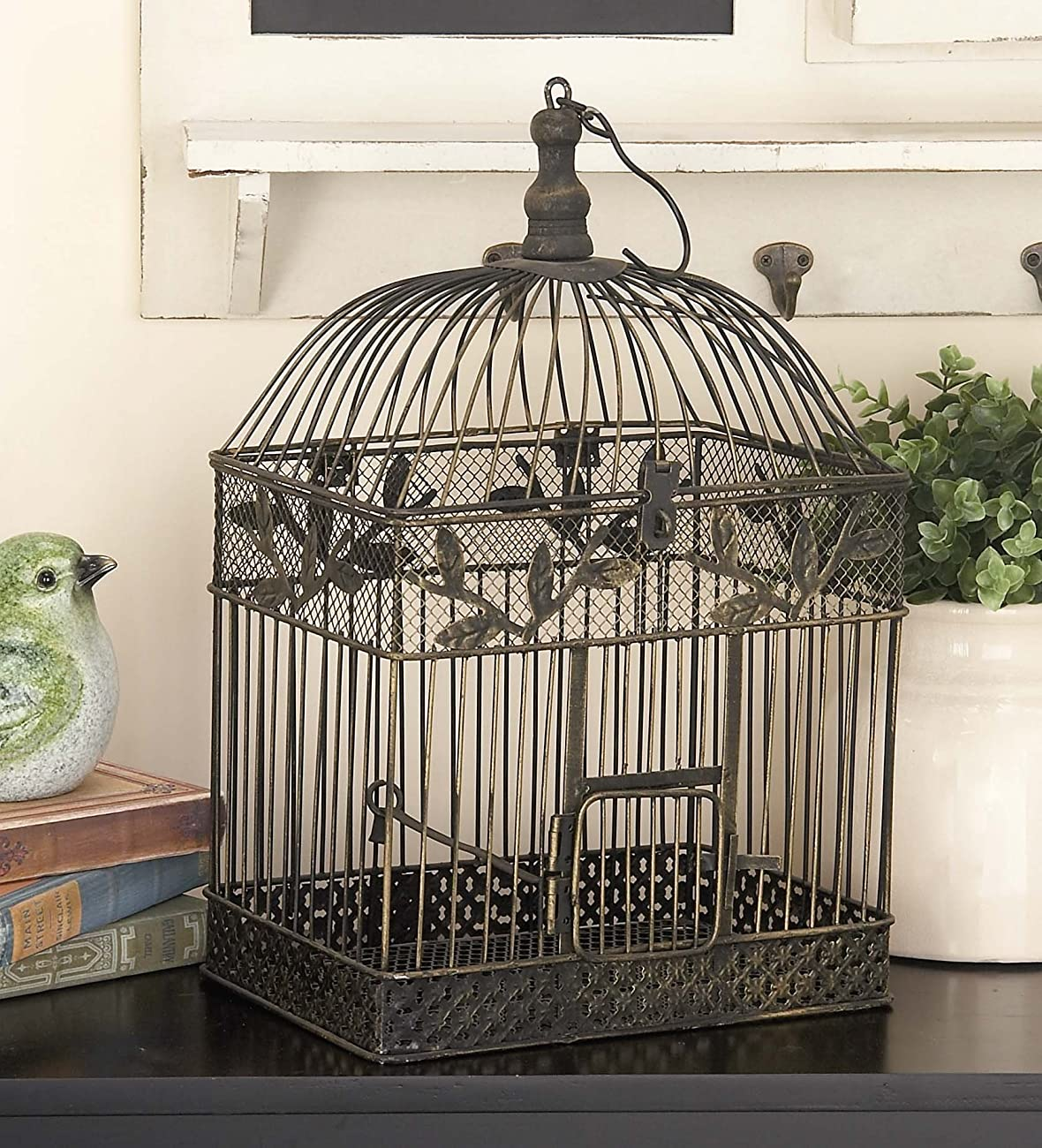 Deco 79 88016 2-Piece Metal Square Bird Cage Set 1