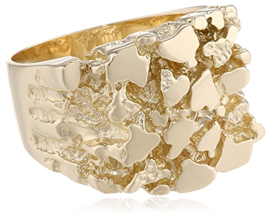 Men-s-14k-Solid-Yellow-Gold-Nugget-Diamond-Cut-Ring-Size-10