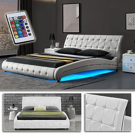 """""""VEGAS"""" Weiß Doppelbett Polsterbett LED Unterboden Beleuchtung Bett Lattenrost (180 x 200 cm)"""