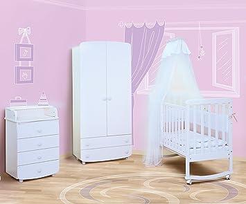 """Babyzimmer """"Vilnius I"""" Art.-Nr.: 12.06; 26.06; 27.1.06, Kinderzimmer Komplett Set 3-tlg., in Weiß, Kleiderschrank B: 90 cm, Wickelkommode B: 60 cm, Babybett Liegefläche 60 x 120 cm"""
