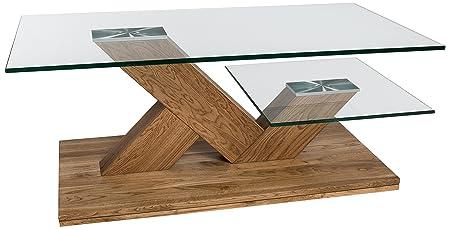 HL Design 01-12-607.3 Couchtisch Michel Tisch- und Ablageplatte 12 mm, / 10 mm, Sicherheitsglas, Säulen und Bodenplatte im Wildeiche massiv, geölt, Rollen verdeckt, 110 x 60 x 44 cm