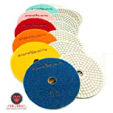 Diamond Polishing Pads 4 inch Wet/Dry 8 Piece Set Granite Stone Concrete Marble (Set of Pads NO Backer)