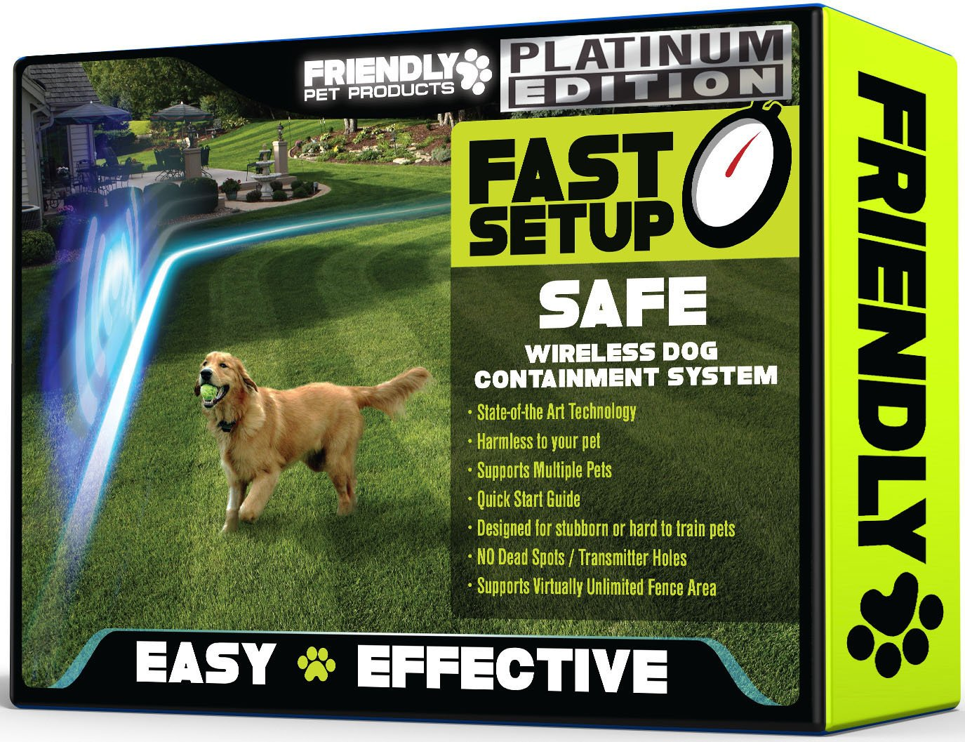 Best Wireless Dog Fence -100% Safe & Reliable - PLATINUM EDITION - Outdoor Pet Fence w/ Radio & In-Ground Cord Electric Wifi Transmitter - Underground Wire is Invisible, Perfect Pet Containment System