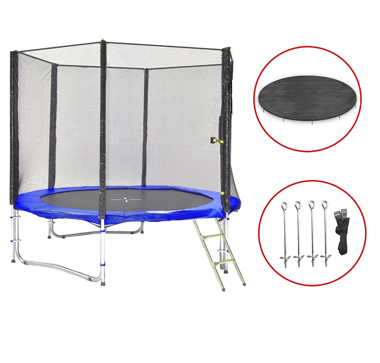 SB-245-B Gartentrampolin 245cm incl. Netz, Leiter, Anker & Wetterplane, 150kg Traglast online kaufen