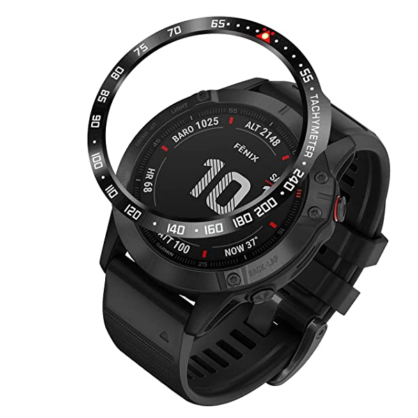 BaiHui Stainless Steel Bezel Ring Compatiable with Garmin Fenix 6X/6X Pro Watch, Bezel Ring Adhesive Cover Anti Scratch & Collision Protector for Garmin Watch Accessory (Black - Not for 6/6 Pro) (Color: Black-02, Tamaño: 6X / 6X Pro)